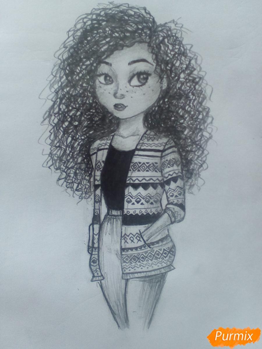 Рисуем миленькую кудрявую девушку - шаг 14