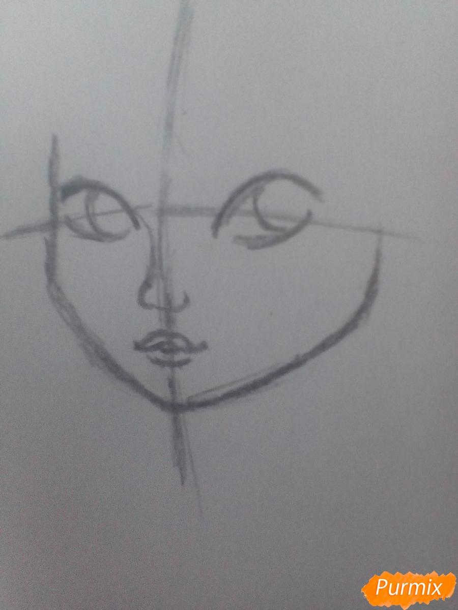 Рисуем миленькую кудрявую девушку - шаг 2