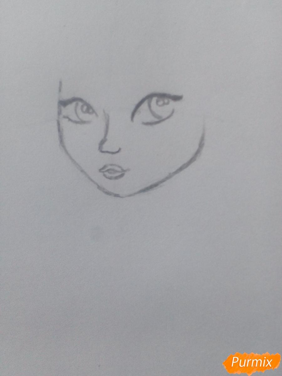 Рисуем миленькую кудрявую девушку - шаг 3