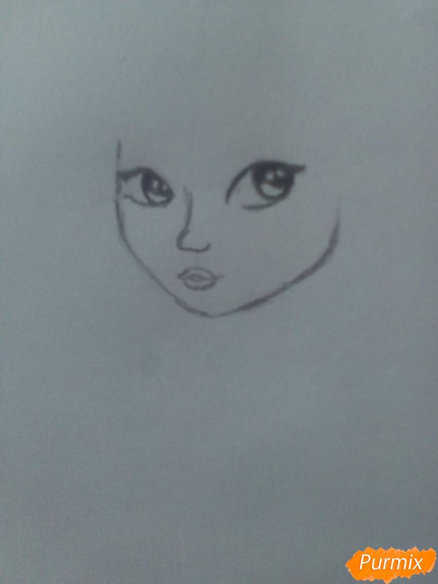 Рисуем миленькую кудрявую девушку - шаг 4