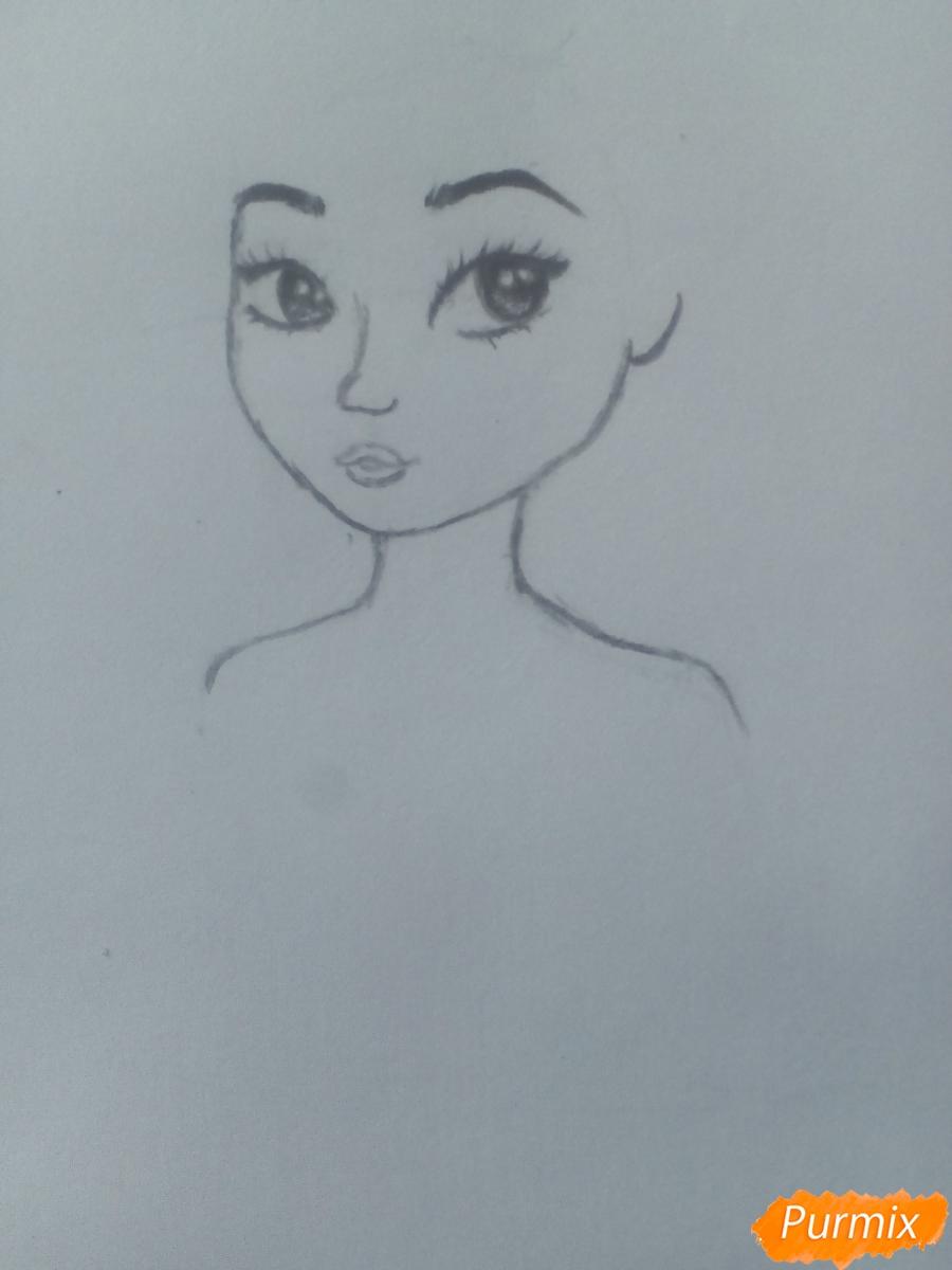 Рисуем миленькую кудрявую девушку - шаг 5
