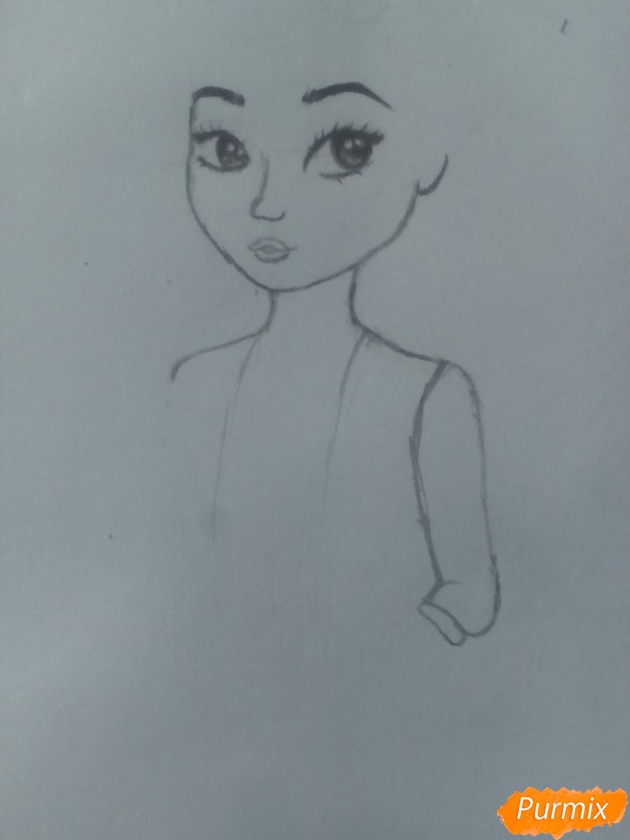 Рисуем миленькую кудрявую девушку - шаг 6