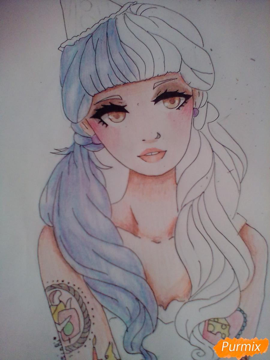 Рисуем портрет певицы Melanie Martinez из клипа Pity Party - фото 10