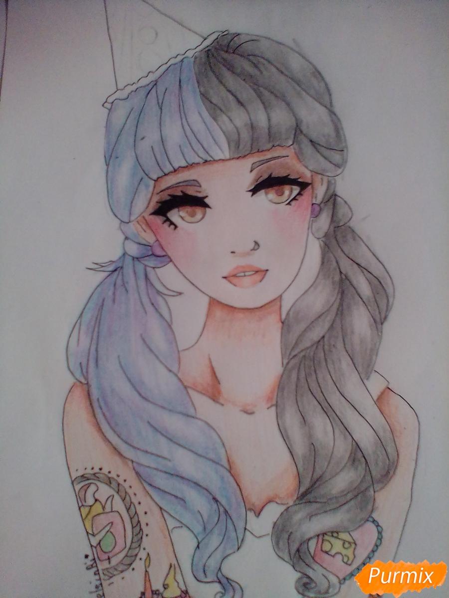 Рисуем портрет певицы Melanie Martinez из клипа Pity Party - фото 11
