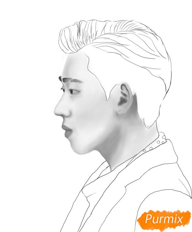 Рисуем портрет Зико лидера группы Block B - шаг 10