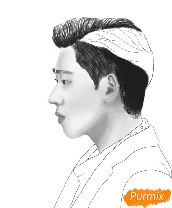 Рисуем портрет Зико лидера группы Block B - шаг 11