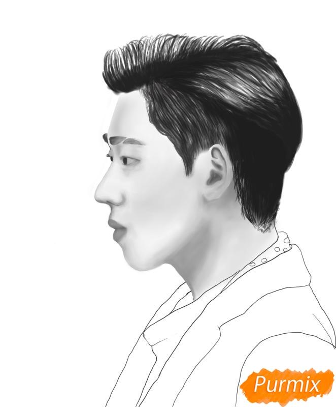 Рисуем портрет Зико лидера группы Block B - фото 12