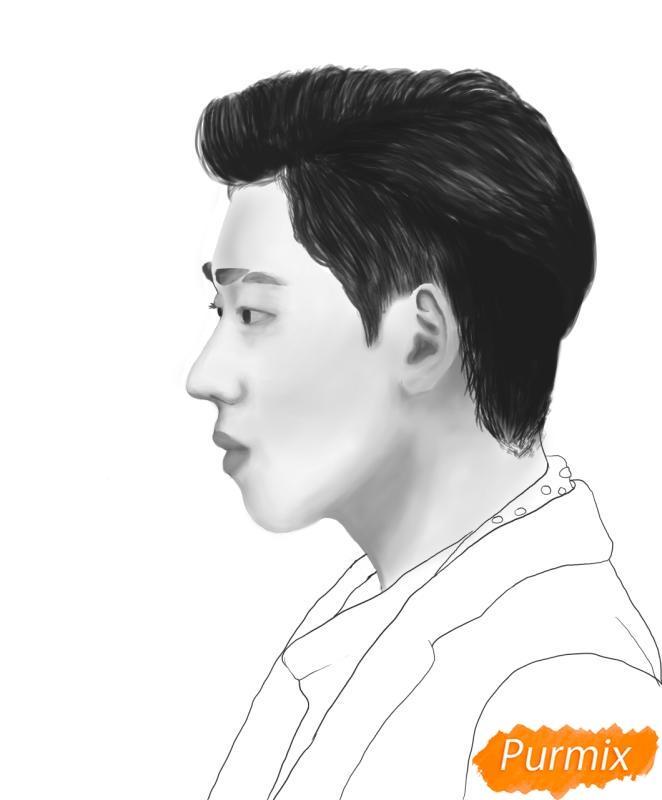 Рисуем портрет Зико лидера группы Block B - шаг 13