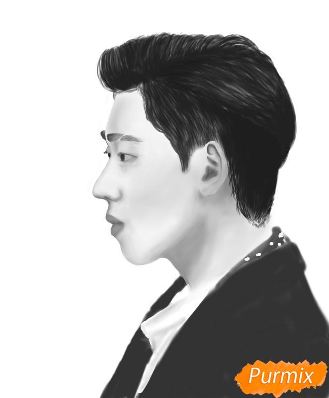 Рисуем портрет Зико лидера группы Block B - фото 14