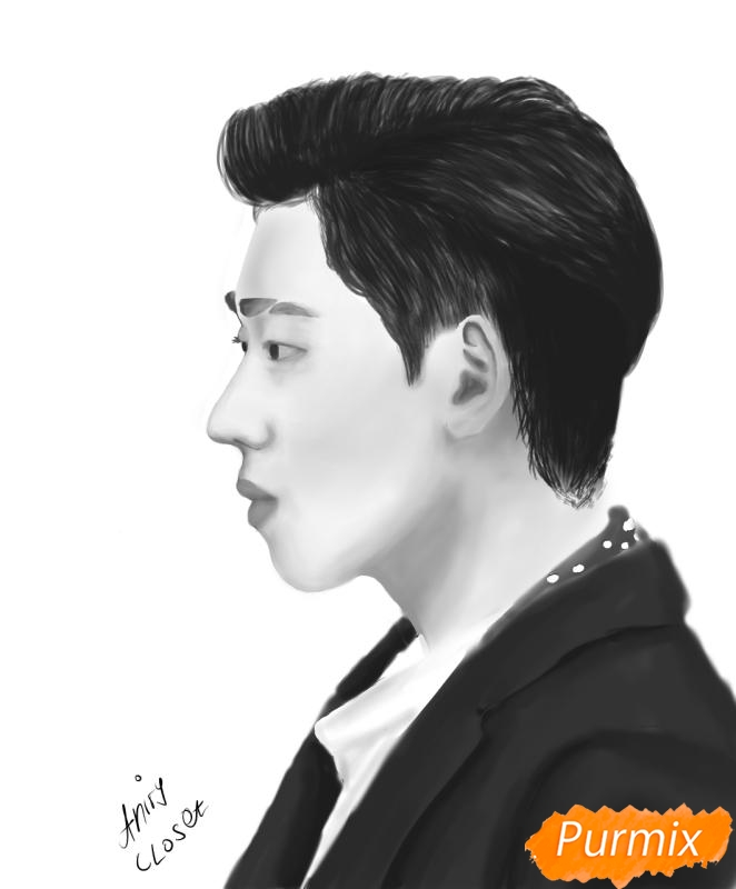 Как нарисовать портрет Зико лидера группы Block B карандашом поэтапно