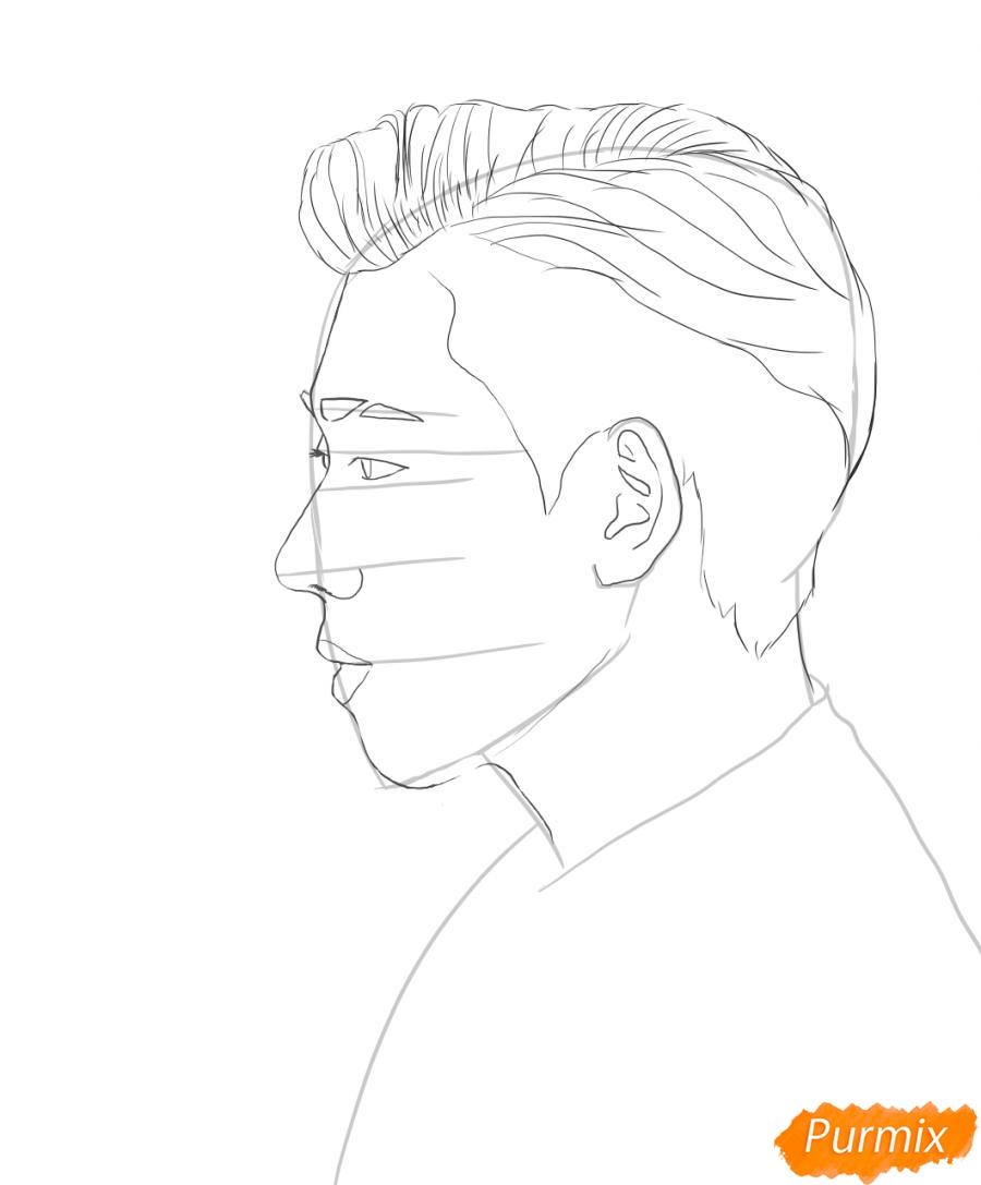 Рисуем портрет Зико лидера группы Block B - шаг 3