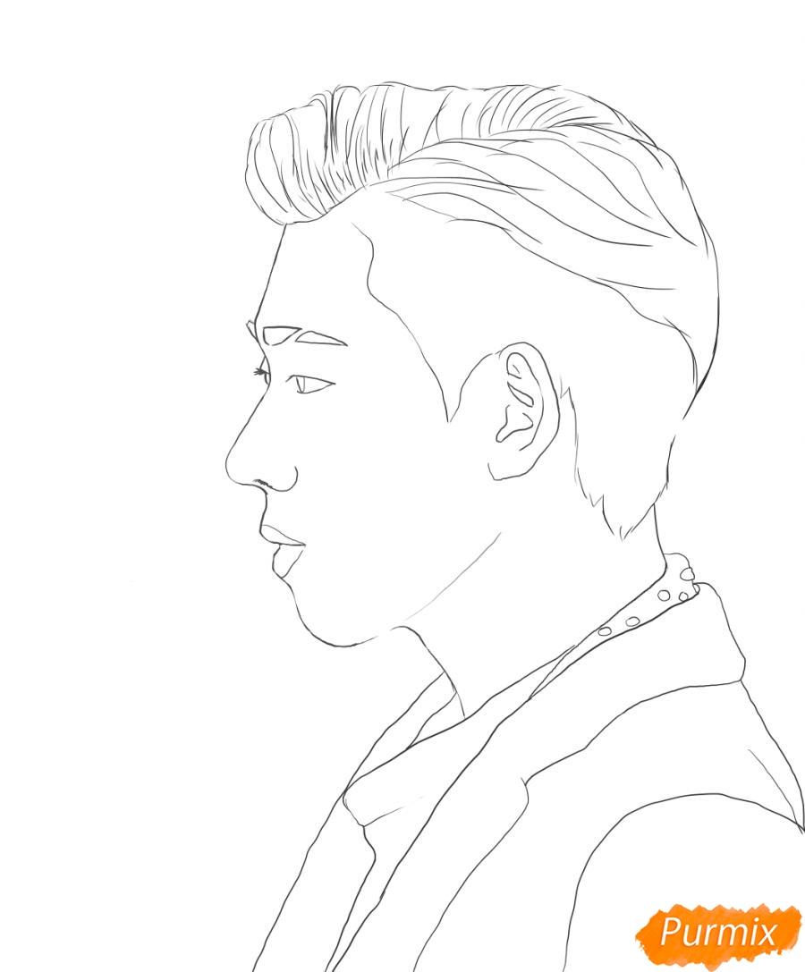 Рисуем портрет Зико лидера группы Block B - шаг 5