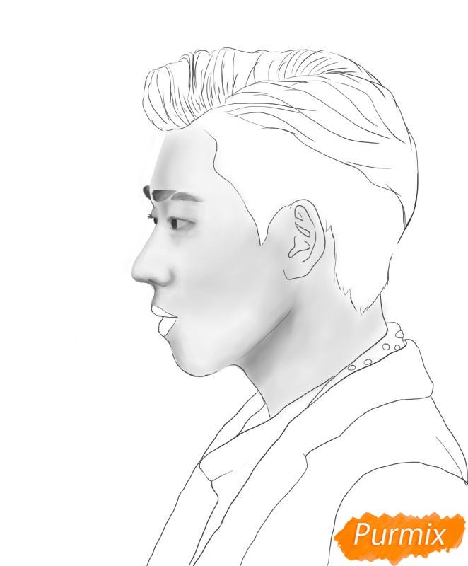 Рисуем портрет Зико лидера группы Block B - фото 8