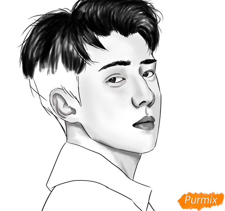 Рисуем портрет О Се Хуна - фото 13