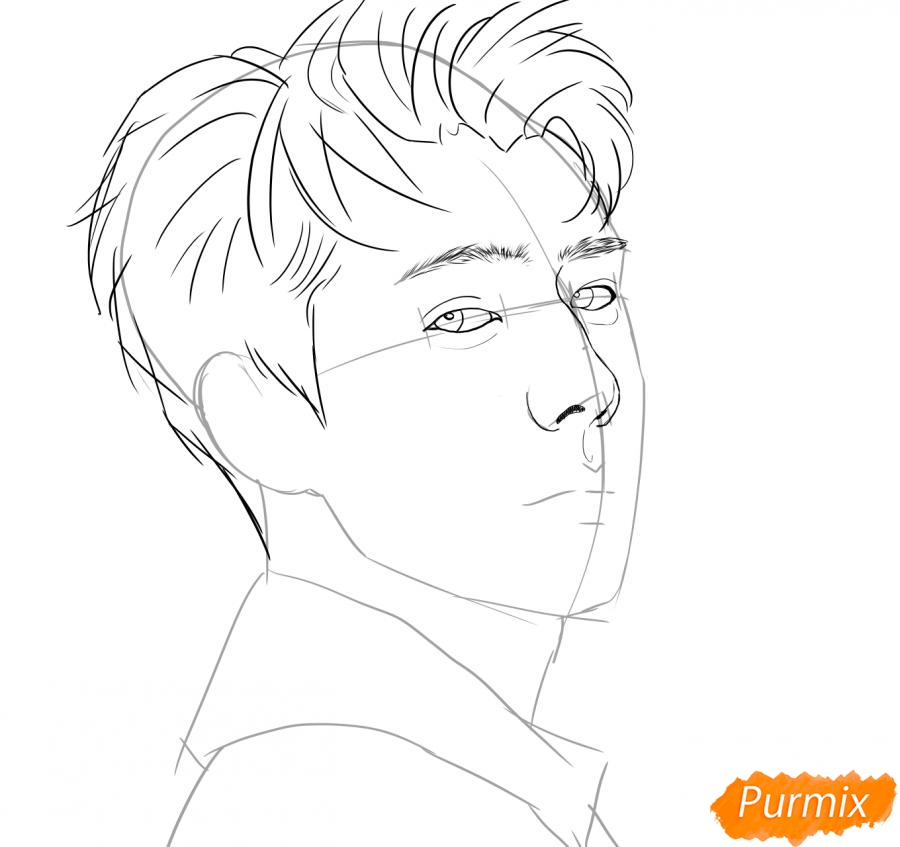 Рисуем портрет О Се Хуна - фото 5