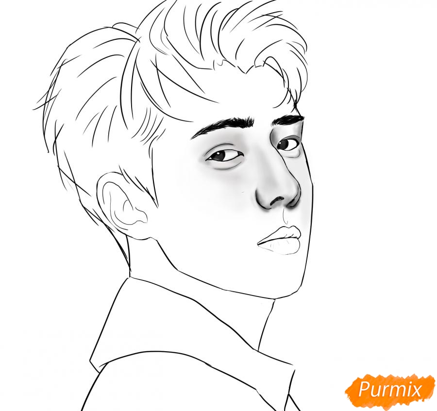 Рисуем портрет О Се Хуна - фото 9