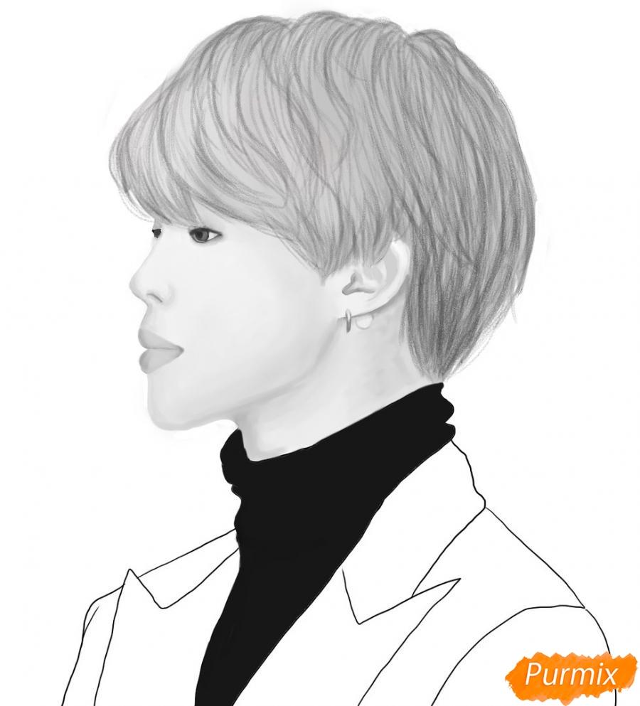 Рисуем портрет Пак Чимина из группы BTS - шаг 10