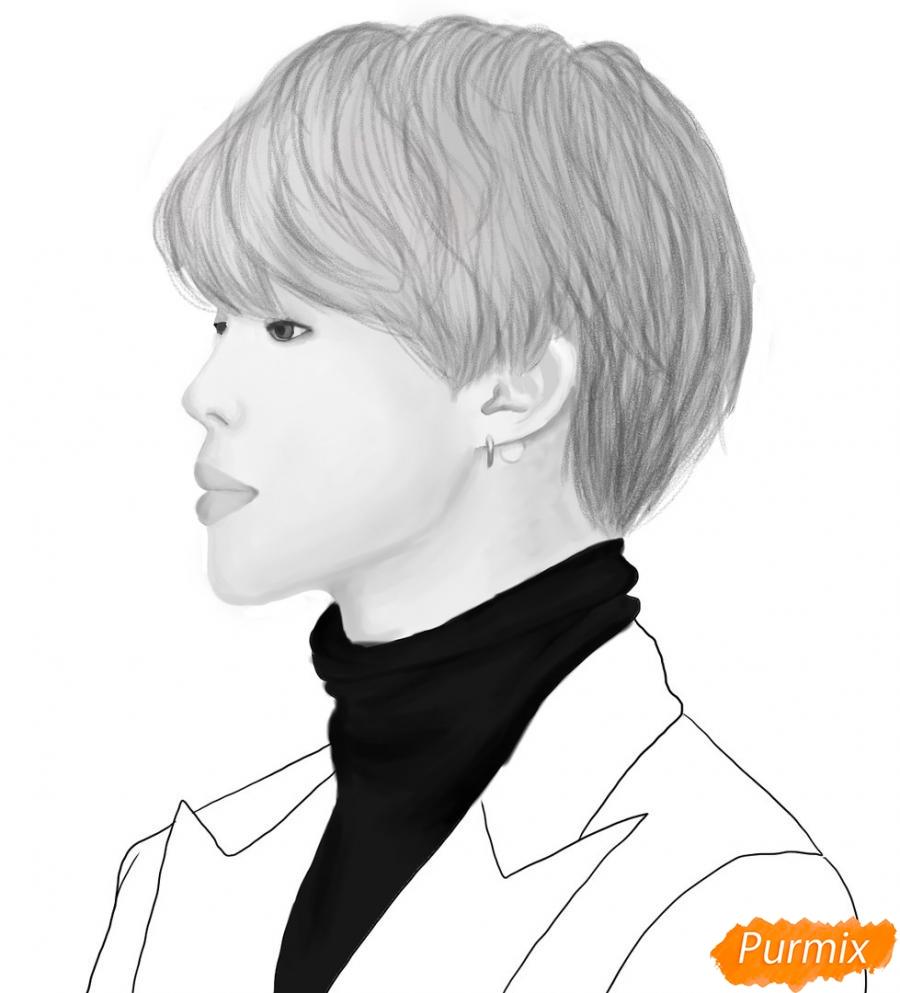 Рисуем портрет Пак Чимина из группы BTS - шаг 11