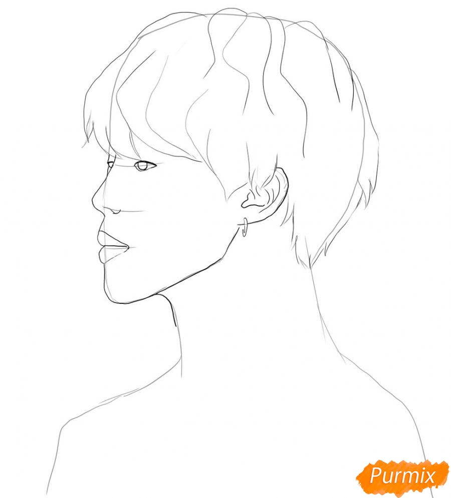 Рисуем портрет Пак Чимина из группы BTS - шаг 3