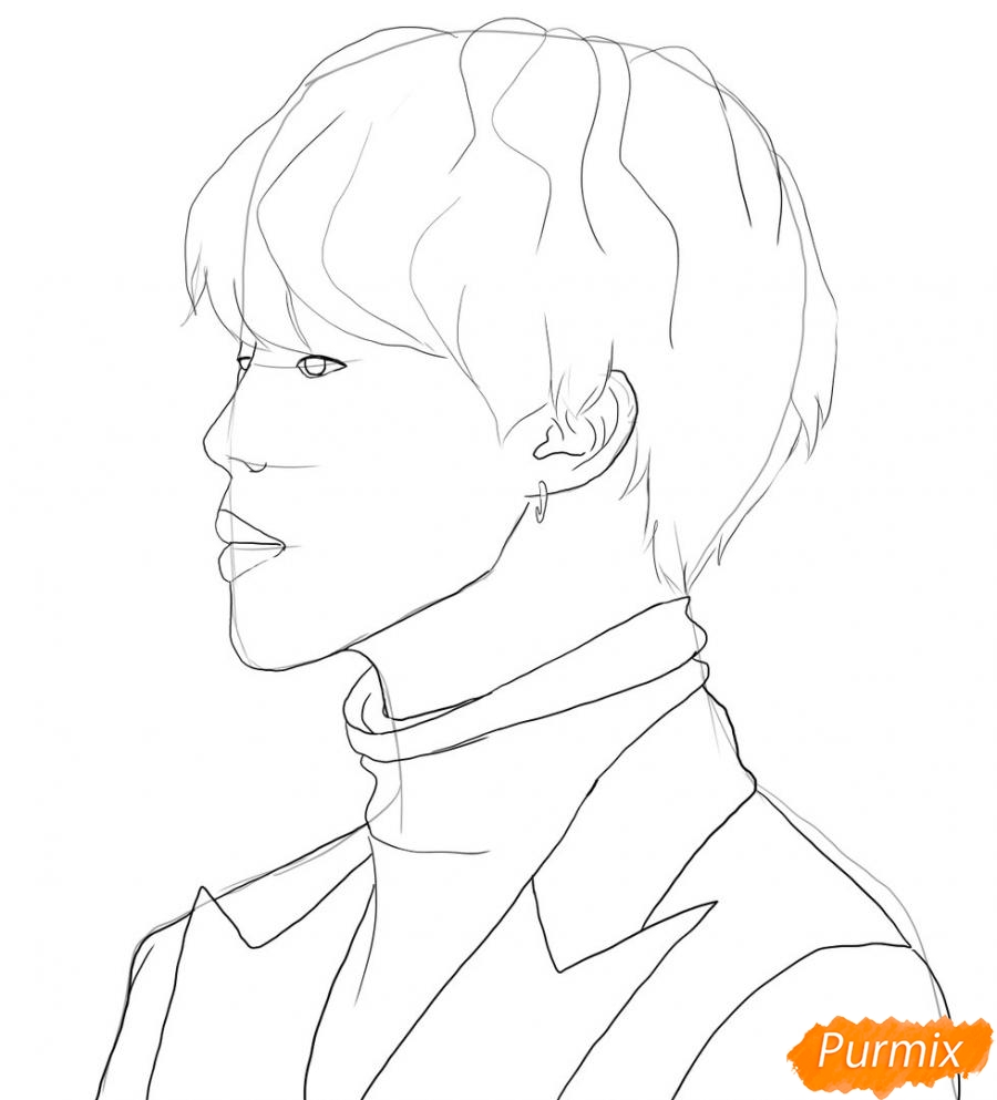 Рисуем портрет Пак Чимина из группы BTS - шаг 4