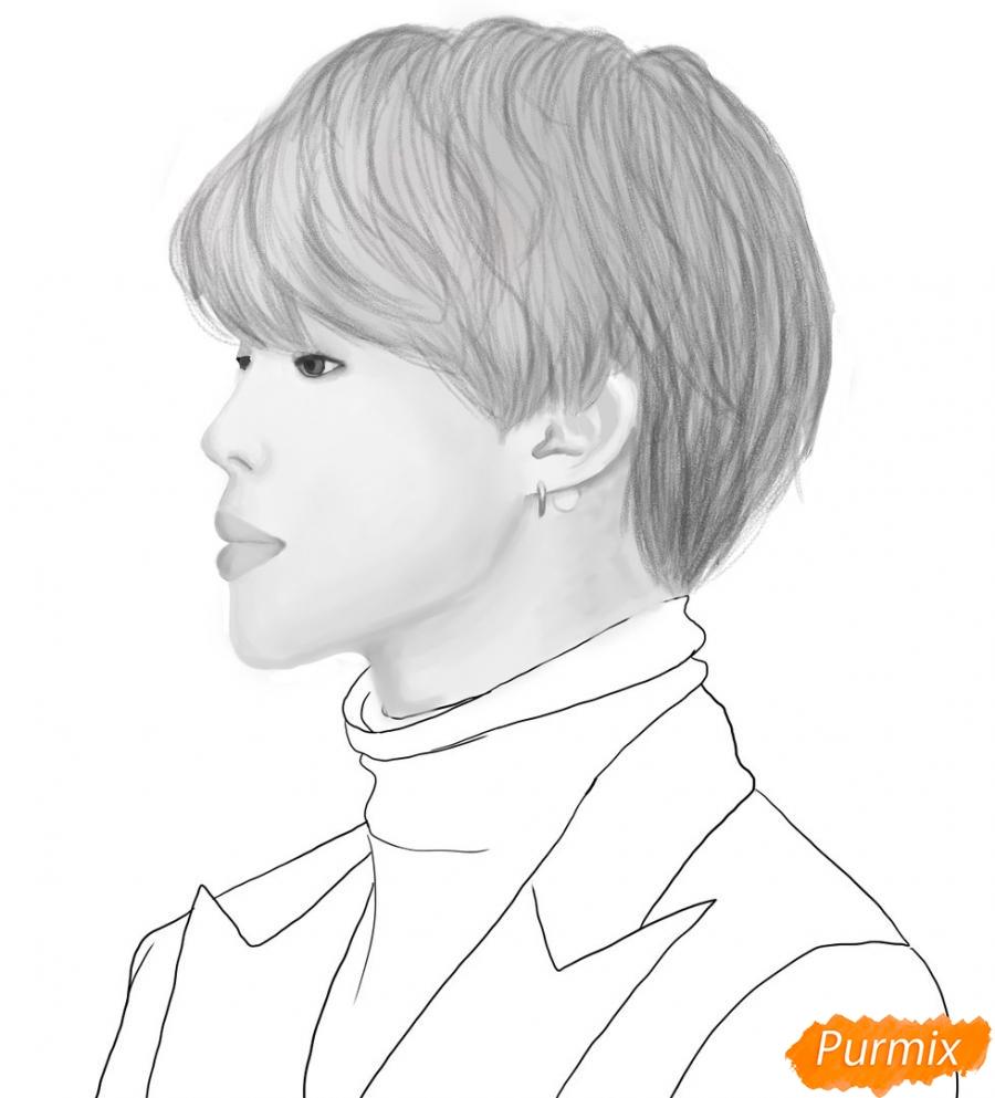Рисуем портрет Пак Чимина из группы BTS - шаг 9