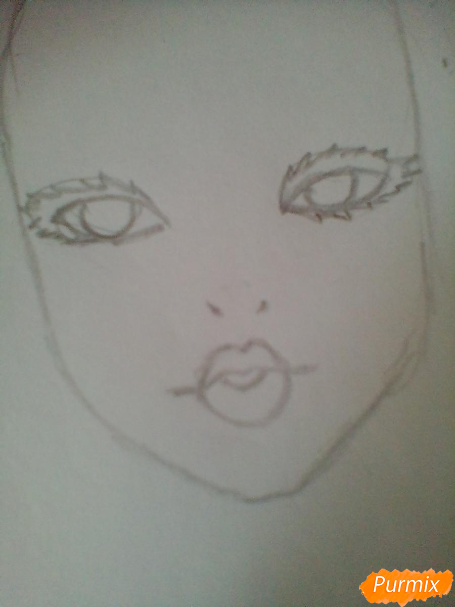 Рисуем портрет певицы Melanie Martinez из клипа Dollhouse - шаг 2