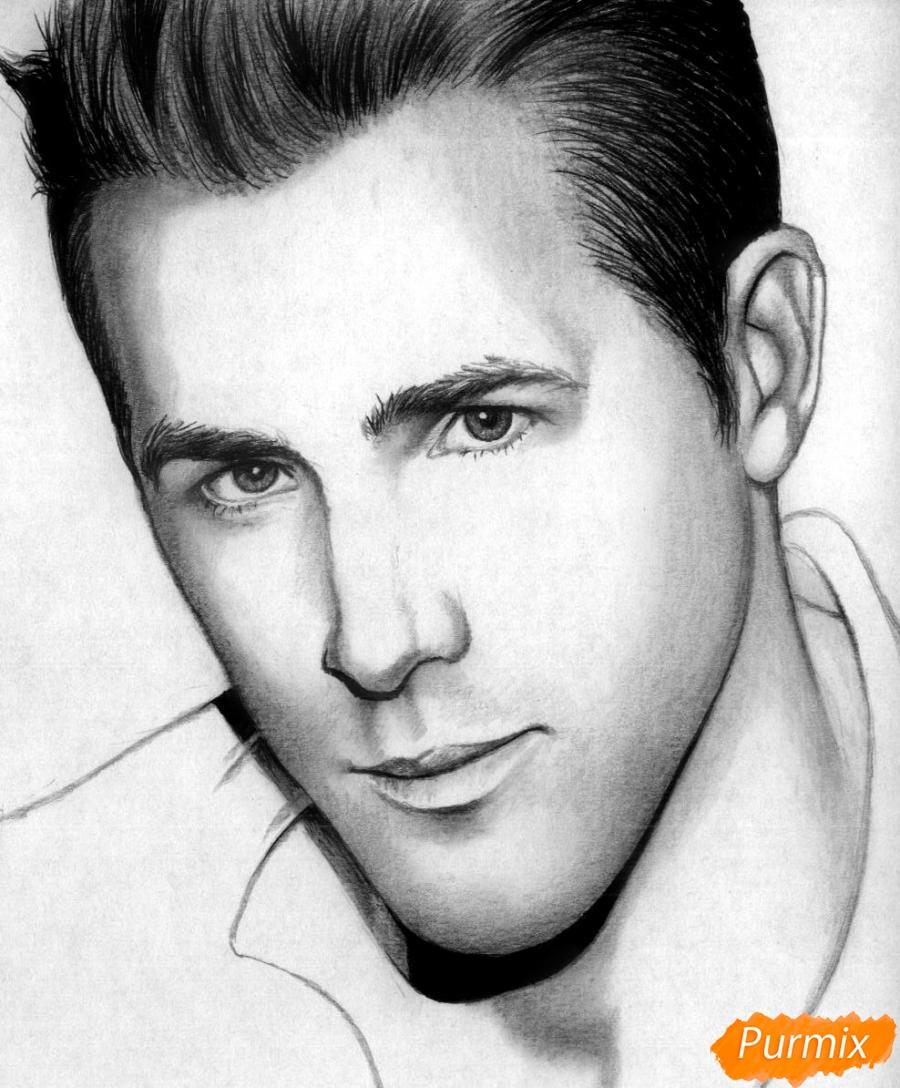 Как нарисовать портрет Райан Рейнольдс карандашом поэтапно