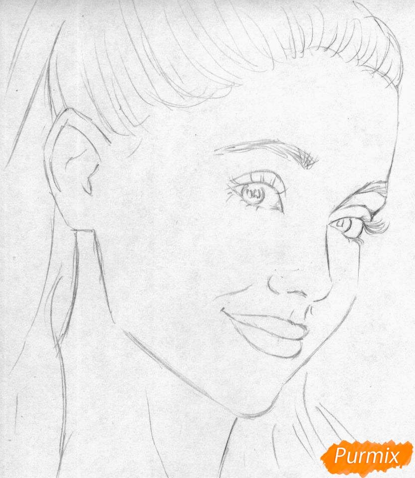 Рисуем портрет Арианы Гранде  и чёрной ручкой - фото 1