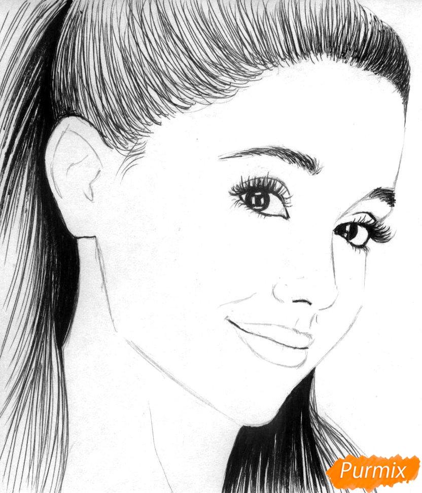 Рисуем портрет Арианы Гранде  и чёрной ручкой - шаг 2