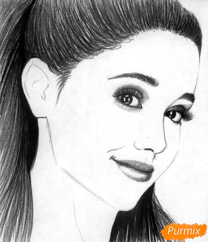 Рисуем портрет Арианы Гранде  и чёрной ручкой - фото 3