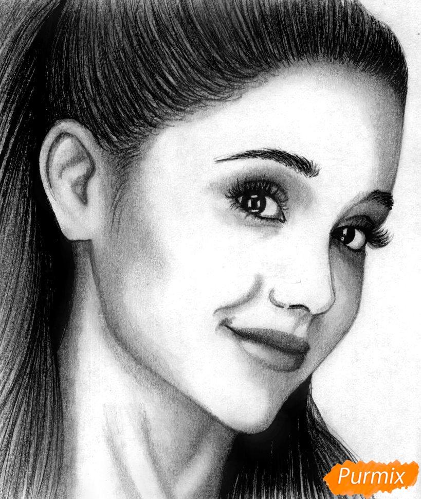 Как нарисовать портрет Арианы Гранде карандашом и чёрной ручкой поэтапно