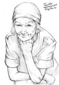 бабушку  карандашом