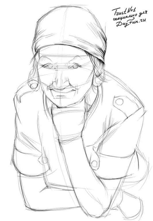 Рисуем бабушку