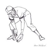 Бейсболиста ловящего мяч  карандашом