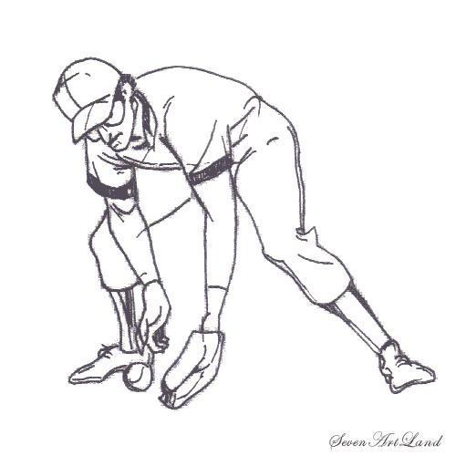 Рисуем Бейсболиста ловящего мяч