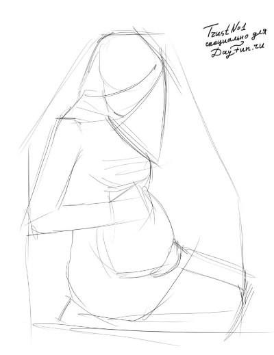 Рисуем беременную девушку - шаг 1
