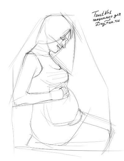 Рисуем беременную девушку - шаг 2