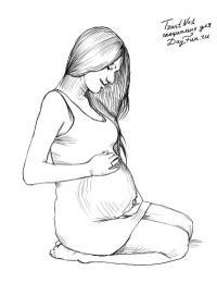 беременную девушку карандашом