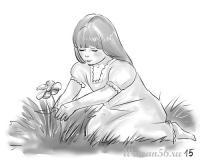 девочку сидящую на лугу карандашом