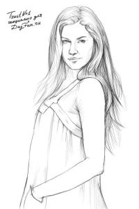 девушку-модель  карандашом