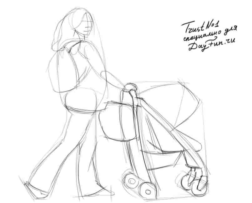 Мама с коляской нарисовать поэтапно