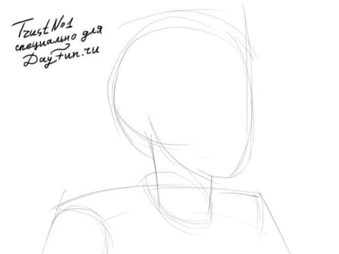 Рисуем девушку с закрытыми глазами