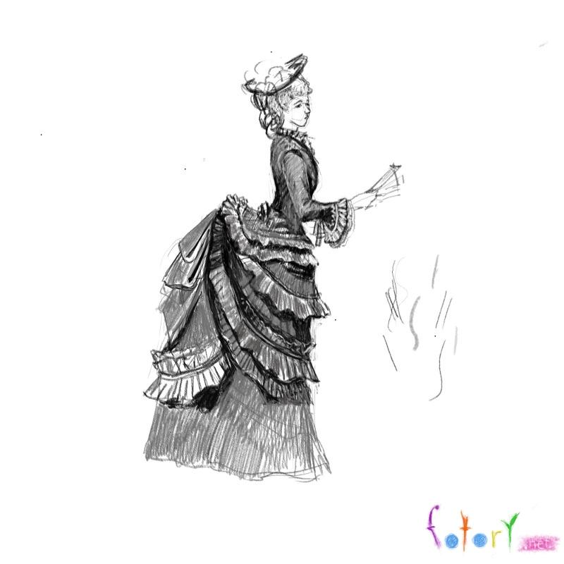 Как нарисовать девушку в красивом платье в полный рост