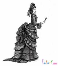 девушку в платье 19 века карандашом