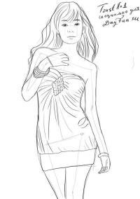 девушку в юбке карандашом