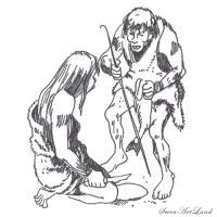 двух неандертальцев  карандашом