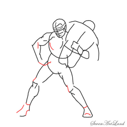 Рисуем двух борцов