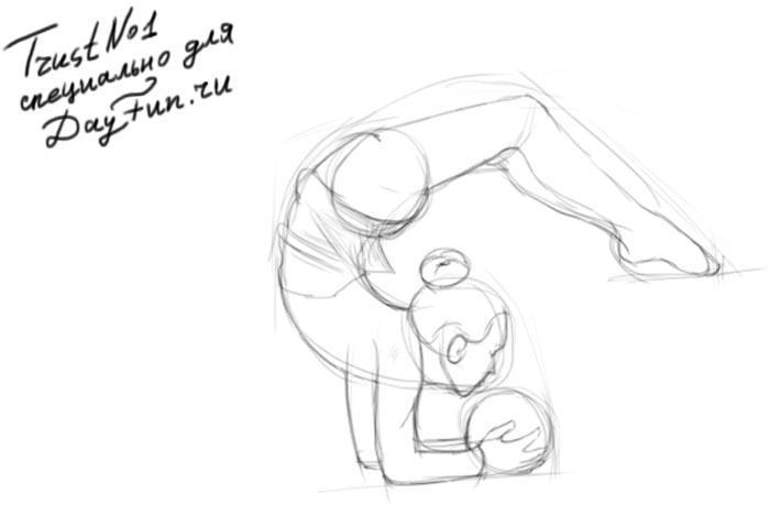 Как нарисовать гимнастку с шаром на