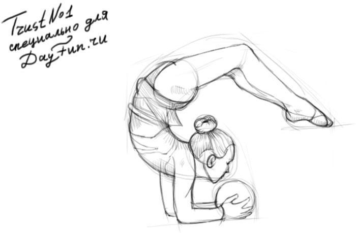 Рисуем гимнастку с шаром на бумаге