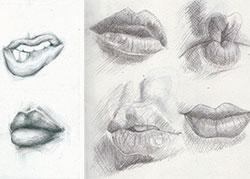 губы человека карандашом